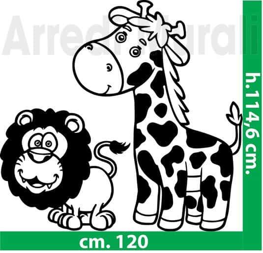 adesivi da muro giraffa e leone