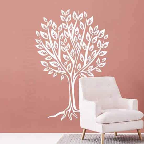 Stickers murali disegno di albero stilizzato bianco