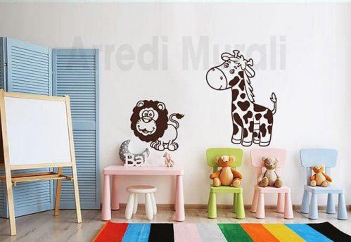 adesivi murali bambini giraffa leone