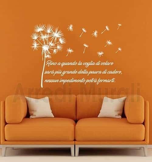 adesivi murali frase personalizzata soffioni
