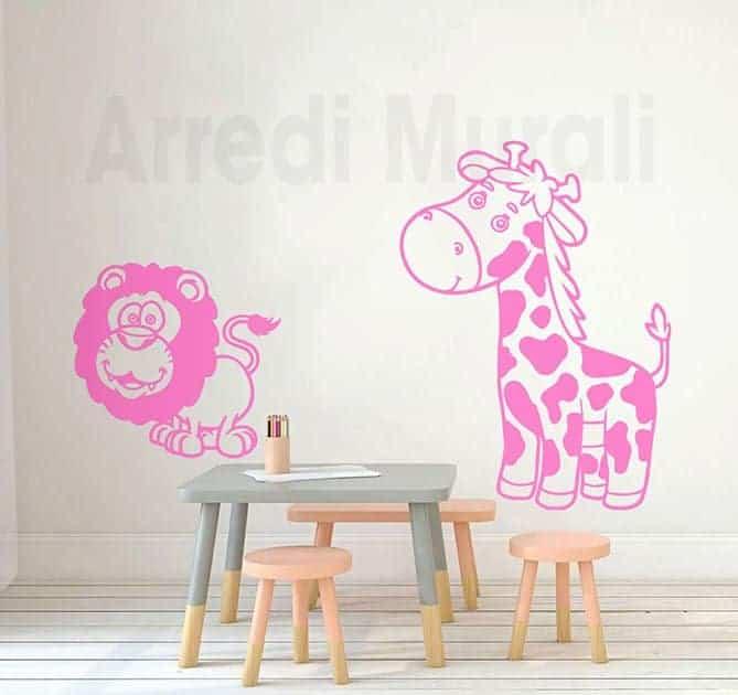 adesivi da parete camerette bambini giraffa leone