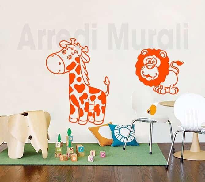 wall stickers bambini giraffa leone