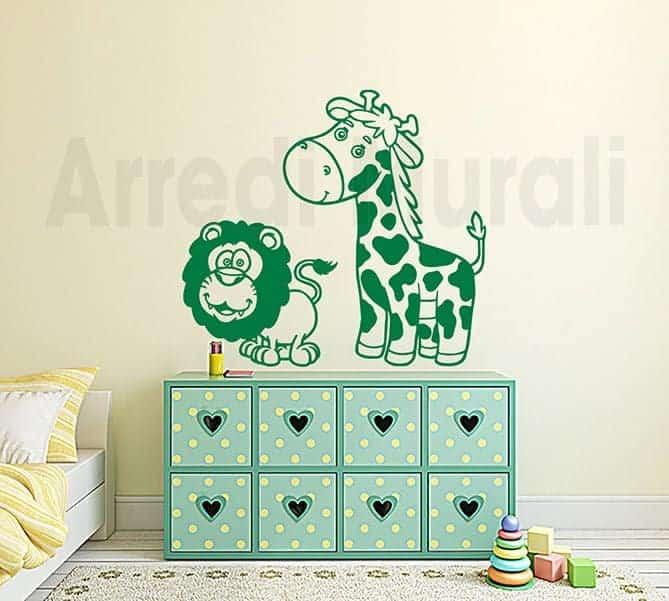 Adesivi murali camerette bambini giraffa leone