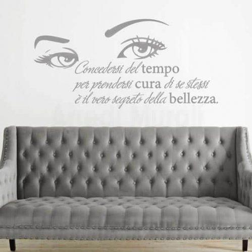 adesivi murali con frase sulla bellezza intagliato color argento