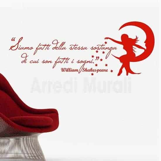 Adesivo murale frase William Shakespeare rosso