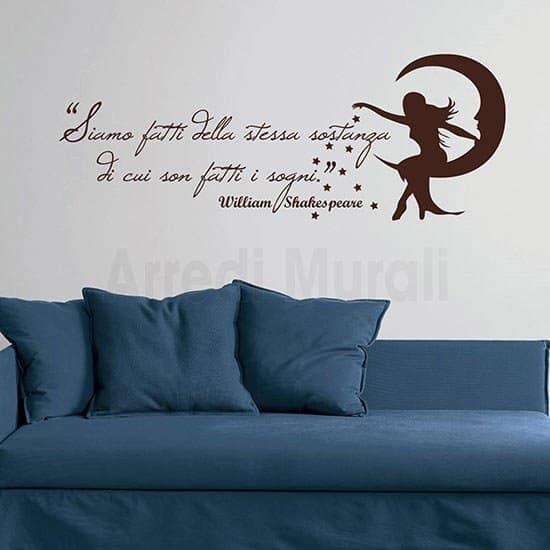 Adesivo murale frase William Shakespeare marrone