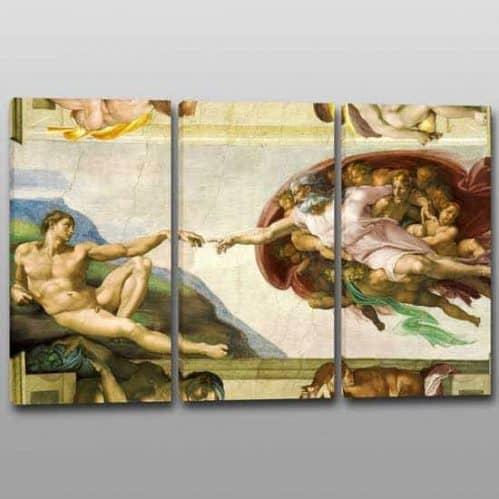 Quadri moderni Creazione Adamo riproduzione 3 quadri su tela