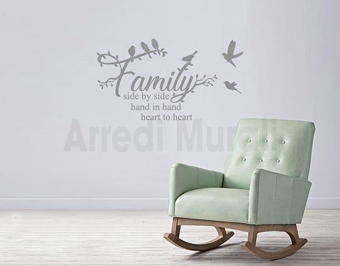 Scritte adesive murali frase famiglia wall stickers