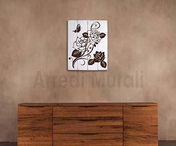 shabby chic decorazione da muro pannello in legno con rose