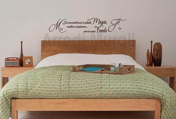 stickers personalizzati con nomi e frase camera da letto