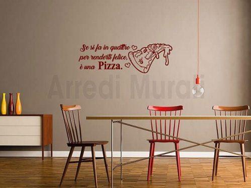 adesivi da parete frase pizza decorazioni