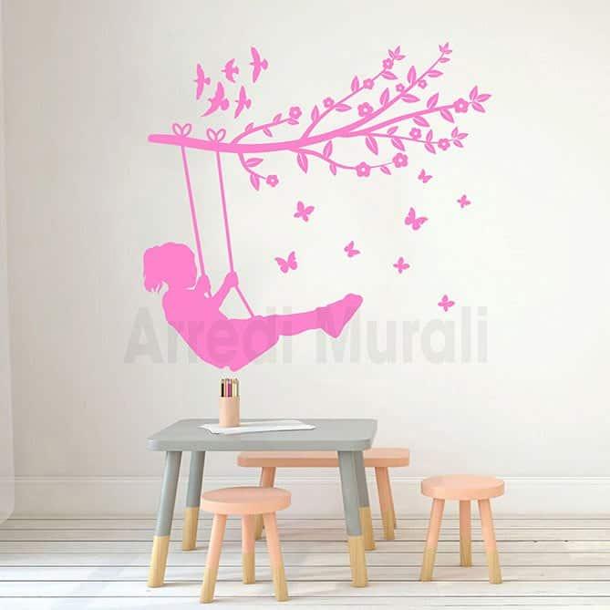 adesivi murali bambina su altalena adesivi cameretta