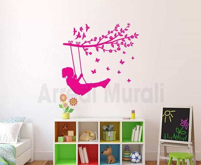 adesivi murali bambina sull'altalena stickers cameretta