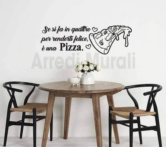 adesivi murali frase pizza decorazioni