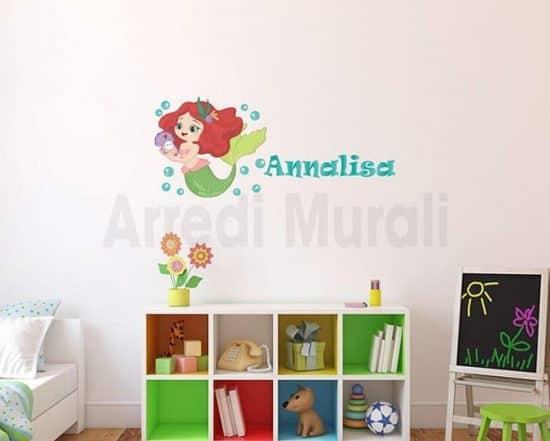 adesivi da parete con sirenetta e nome personalizzato bimba