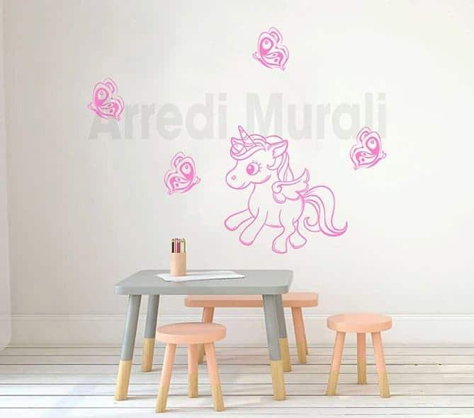 decorazioni da parete camerette bimbe unicorno farfalle