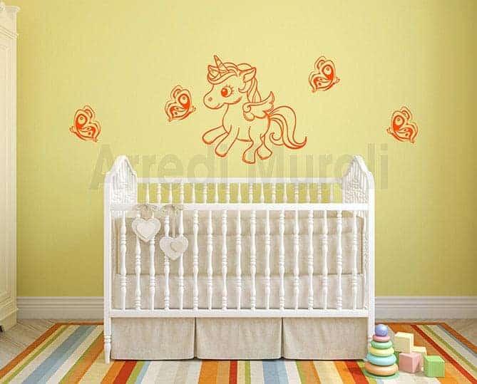 decorazioni da parete camerette unicorno farfalle adesive