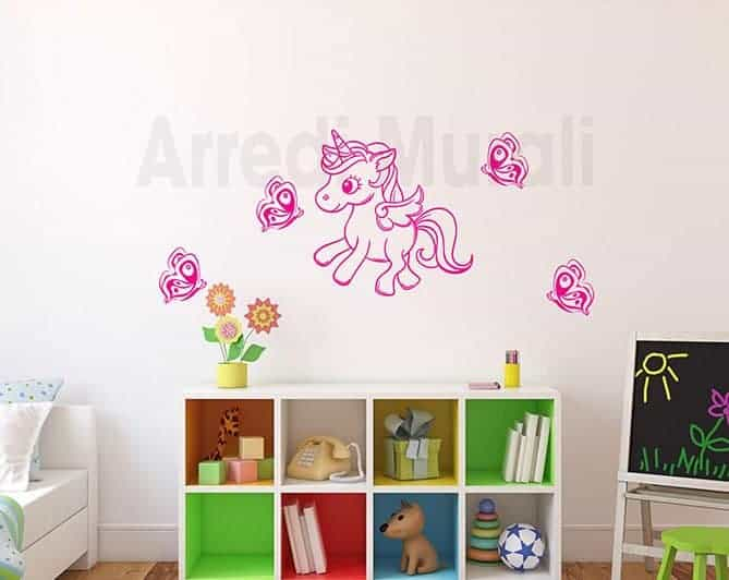decorazioni da parete unicorno farfalla