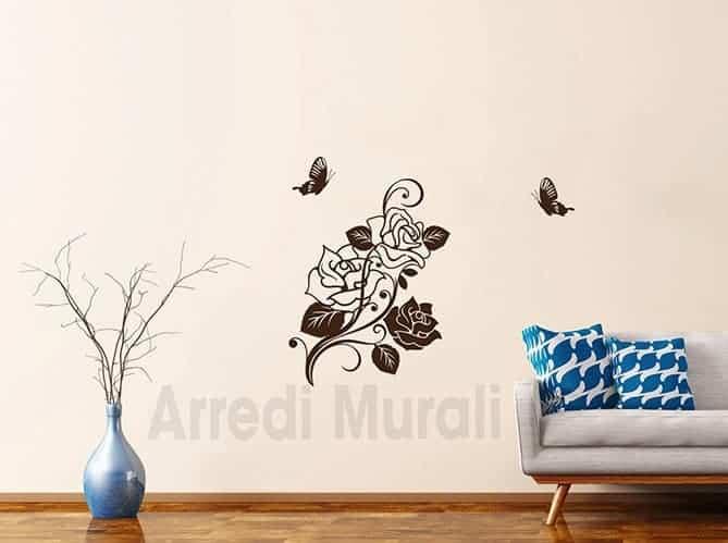 disegni adesivi rose con 2 farfalle