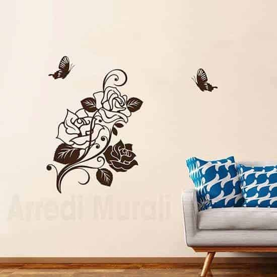 disegni adesivi rose 2 farfalle marrone