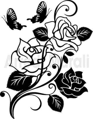 disegni adesivi rose con farfalle