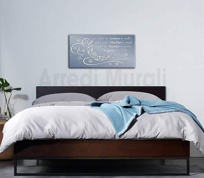 quadro frase buonanotte per camera da letto