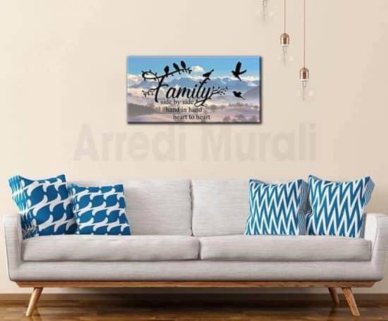 quadro moderno frase famiglia arredi murali