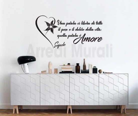 scritte adesive da parete con frase amore