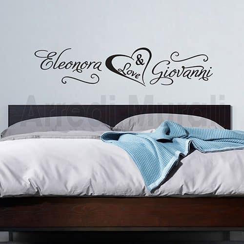 scritte adesive nomi personalizzati arredo camera da letto