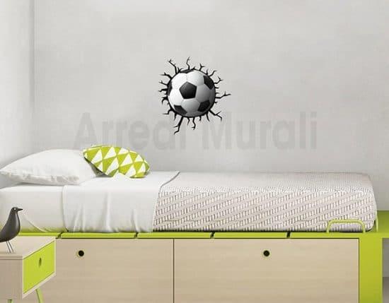 stickers calcio cameretta bimbo decorazione trompe l'oeil
