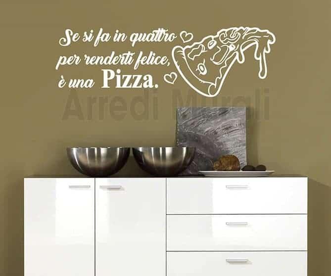 stickers murali frase pizza decorazioni