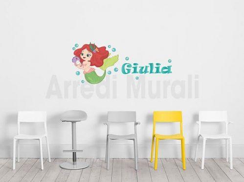 stickers sirenetta con nome personalizzato per arredo cameretta bimba