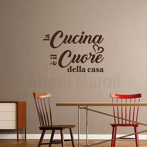 wall stickers frase cucina marrone