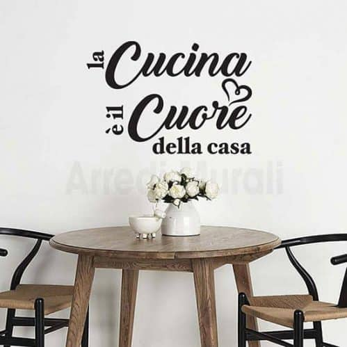 wall stickers frase cucina nero