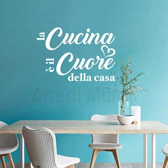 wall stickers frase cucina bianco