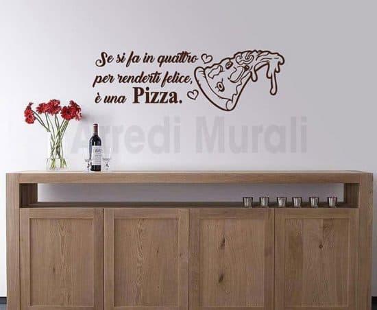 wall stickers frase pizza decorazioni