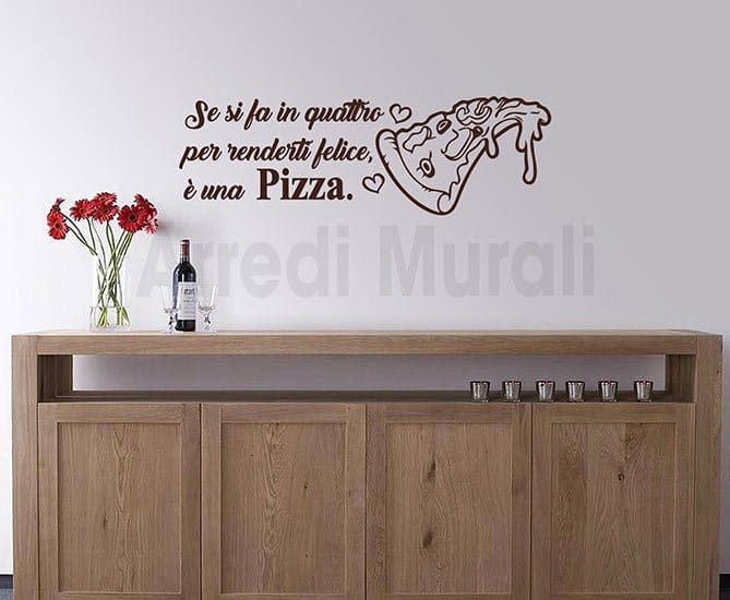 wall stickers frase pizza decorazioni