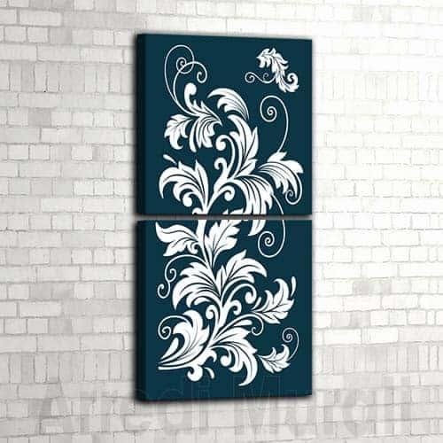 coppia di quadri moderni floreali
