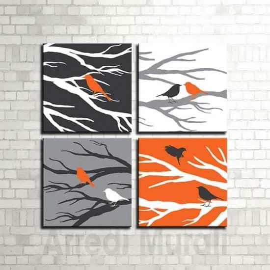 4 quadri moderni in arte digitale uccellini su rami