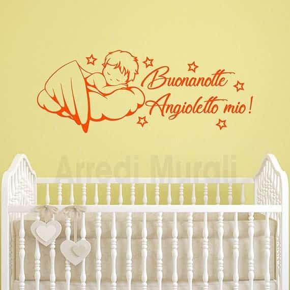 Adesivi da parete cameretta neonati con disegno di angioletto su nuvola