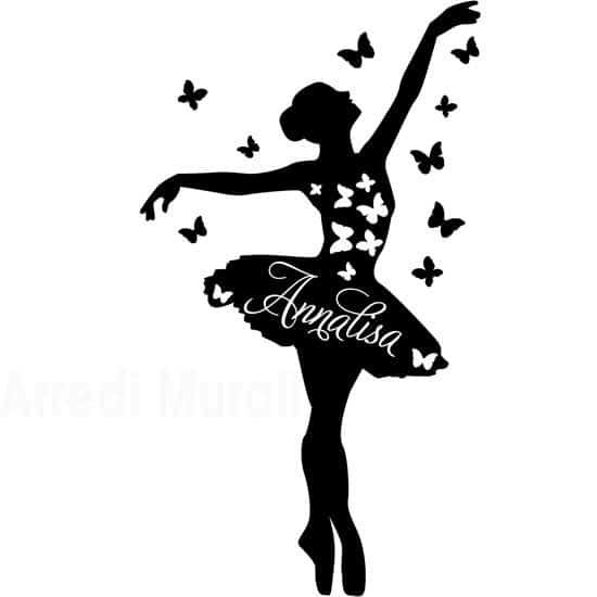 Adesivi da parete personalizzati nome ballerina come arriverà