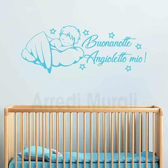 adesivi da parete cameretta neonato angioletto su nuvola celeste