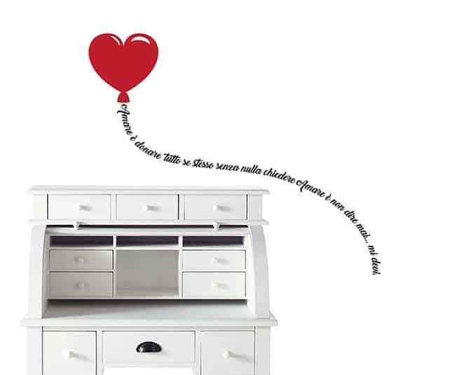 Adesivi murali palloncino cuore con frase famosa