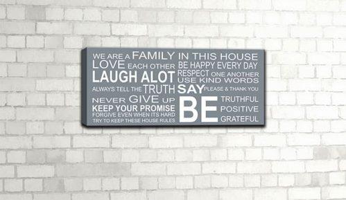 Idee decorative da muro con quadro moderno famiglia