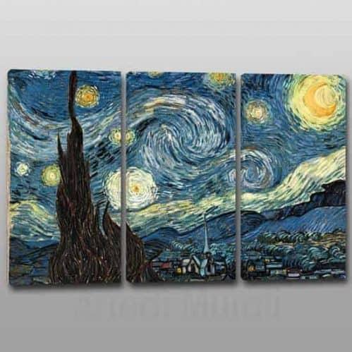 quadri moderni Van Gogh riproduzione de La Notte Stellata su 3 tele