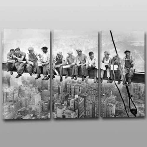 Quadri moderni operai Rockefeller Center riproduzione su 3 tele