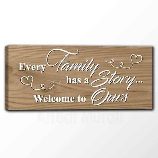 Quadro moderno su tela con frase inglese famiglia