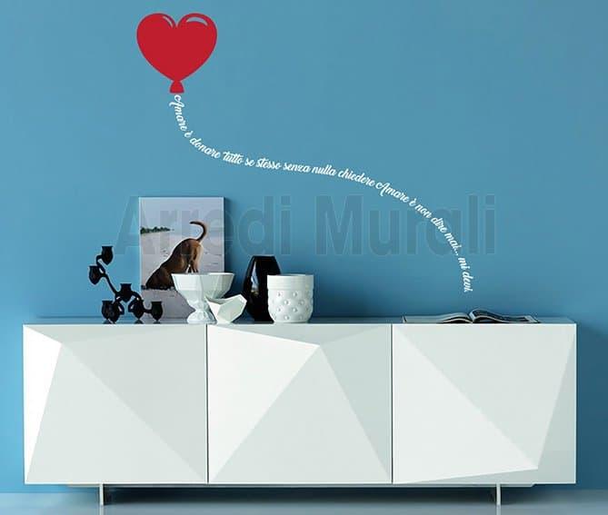 Adesivi murali palloncino cuore con frase adesiva