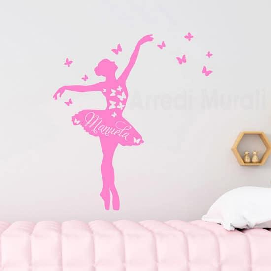 adesivi murali personalizzati ballerina con nome bimba rosa
