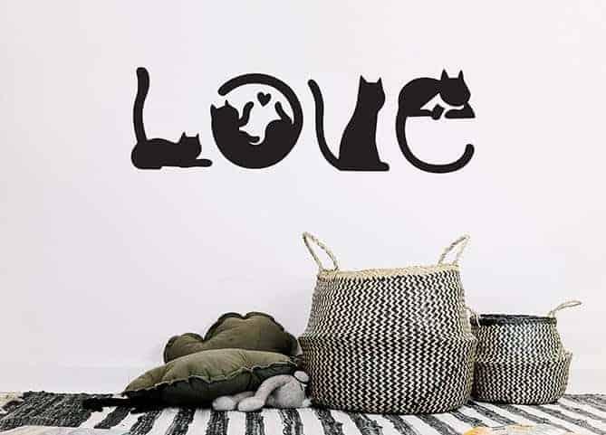adesivi murali 4 gatti con parola love